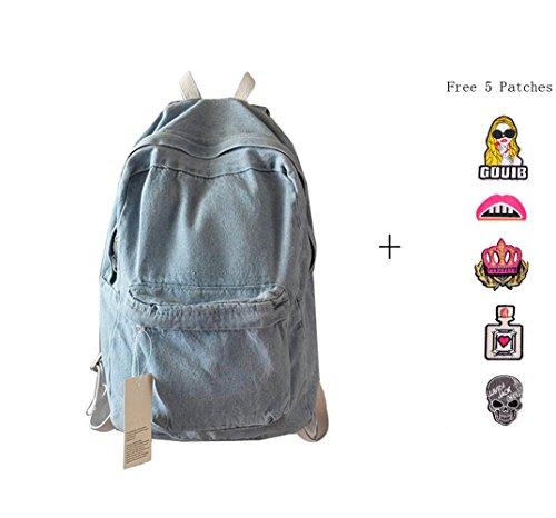 Price comparison product image College School Bags Backpacks Girls Denim Cute Bookbags Student Backpack School Laptop Backpack Bag Pack Super Cute for School for Teenage (Light Blue)
