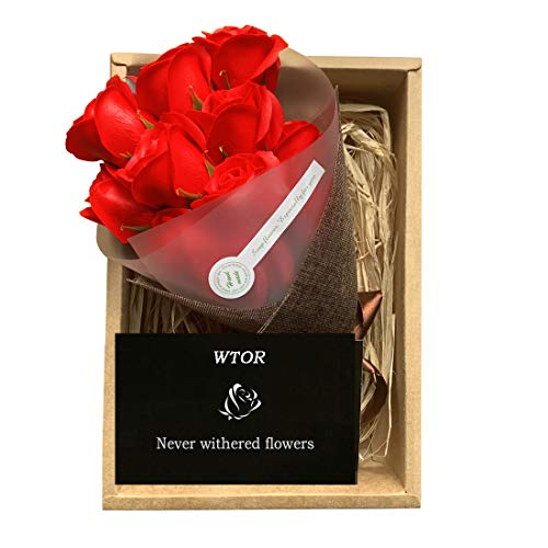 WTOR Mother's Day Flower 11Pcs Soap Rose Flower Gifts for Mom Girlfriend Anniversary Birthday Wedding Valentine's Day