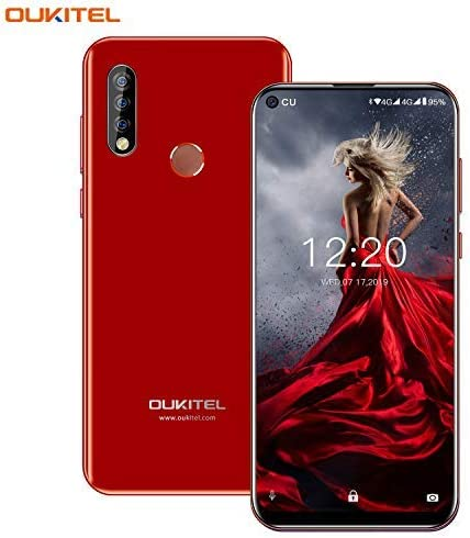 OUKITEL C17 Pro Unlocked Smartphones 64GB + 4GB RAM Android 9.0 6.35″ FullView Display 13MP+5MP+2MP Triple Cameras Face Fingerprint Recognition Global Dual 4G LTE GSM Unlocked Cell Phone (Red)
