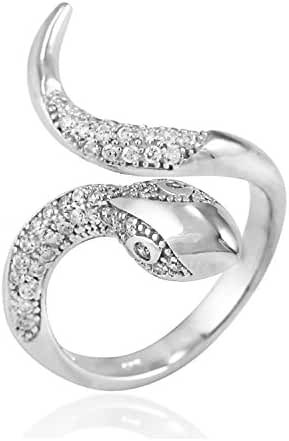 925 Sterling Silver Sparkling CZ 27 mm Snake Unique Band Ring - Nickel Free