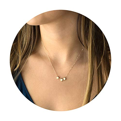 Lucky Star Pendant Necklaces,18k Gold Plated Three Stars Handmade Dainty Cute Chain Pendants Necklaces Jewelry Gift for Women