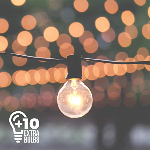Big Party Store (50ft Black String Lights, 60 G40 Globe Bulbs (10 Extra), Connectable, Waterproof, Indoor-Outdoor Globe String Lights for Patios, Parties, Weddings, Backyards, Porches, Gazebos, Pergolas and)