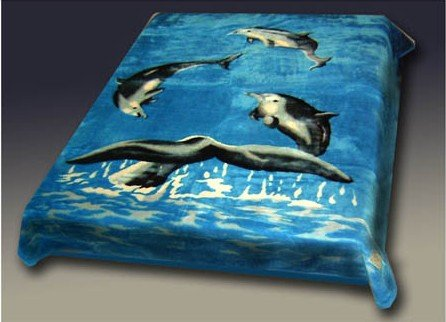 Acrylic Mink Blanket, Queen Size, Dolphins