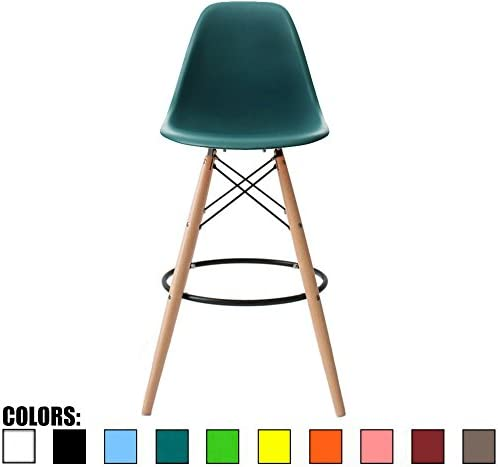 2xhome – Teal – 28 Seat Height DSW Molded Plastic Bar Stool Modern Barstool Counter Stools with Back and armless Natural Legs Wood Eiffel Legs Dowel-Leg