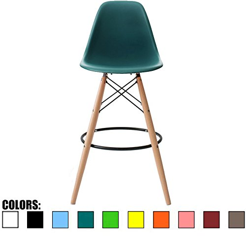 2xhome Eames Style Modern Mid Century Armless With Back Counter Height Bar Stool Chair With Natural Wood Legs, 25 , Teal,1 piece