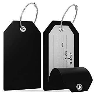 Shacke Luggage Tags with Full Back Privacy Cover w/Steel Loops - Set of 2