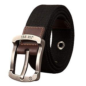 LEX TAVIS Canvas Belt with Original JIN WEI Alloy Pin Buckle. Military Tactical Web Belt, 100% Pure Washed Cotton Canvas Belt for Men & Boys