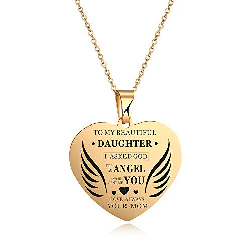 - Gold Heart Pendant Necklace for Girls,Charm Love Wing Necklace to My Beautiful Daughter My Sweet Angel Choker Necklace Chain Jewelry from Dad Mom