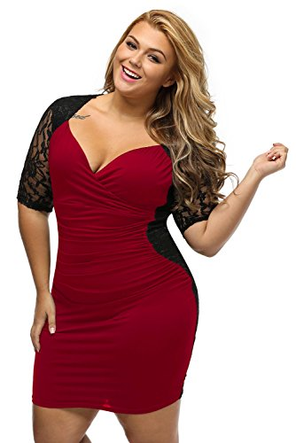 Lady Swain Women's V Neck Half Sleeve Ruched Lace Illusion Plus Size Bodycon Dress (XXL, Black Burgundy)