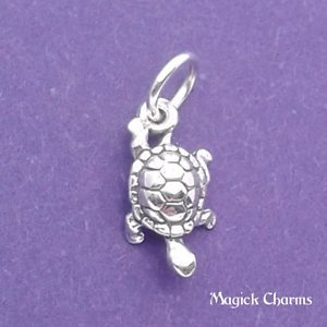 (925 Sterling Silver Turtle Sea Ocean Miniature Charm Jewelry Making Supply, Pendant, Charms, Bracelet, DIY Crafting by Wholesale Charms)