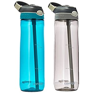 Contigo Autospout Straw Ashland Water Bottle, 24 oz, Scuba Smoke, 2 Pack