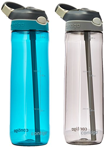 - Contigo AUTOSPOUT Straw Ashland Water Bottles, 24 oz, Scuba and Smoke, 2-Pack