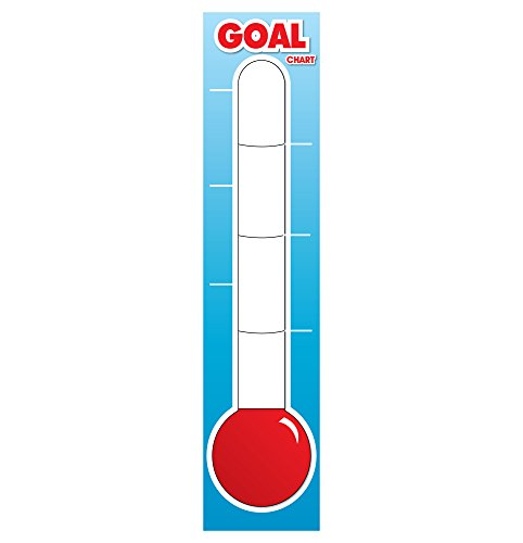 Fundraising Thermometer - Dry Erase Goal Board - 48 x 11 inch Goal Thermometer - Reusable Vinyl Thermometer Chart - Goal Chart for Fundraising, Charity Donation, Goal Setting Thermometer Chart ()