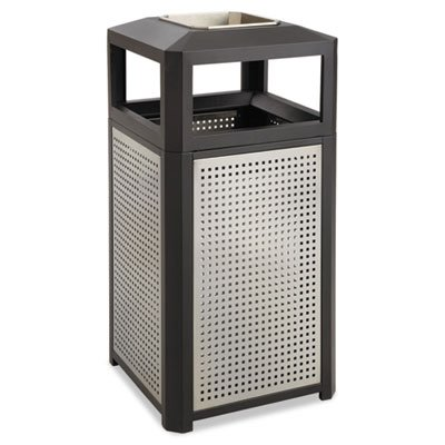 Ashtray-Top Evos Series Steel Waste Container, 15gal, Black, Sold as 1 Each (Slat Ash)