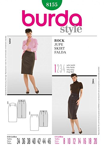Burda Ladies Easy Sewing Pencil Skirt Pattern 8155 Sizes 8-20 ()