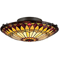 Quoizel TF1400SVB 2-Light Tiffany Flush Mount in Vintage Bronze
