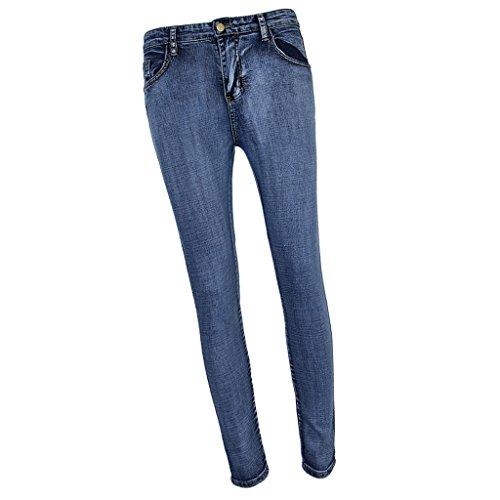 Sharplace Jean Slim Taille Haute Femme avec Zip Arrire Boyfriend Coupe Droite Bleu
