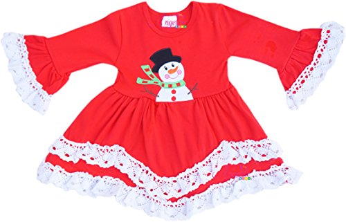 Angeline Boutique Clothing Girls Christmas Holiday Snowman Lace Trim Dress 4T/L ()