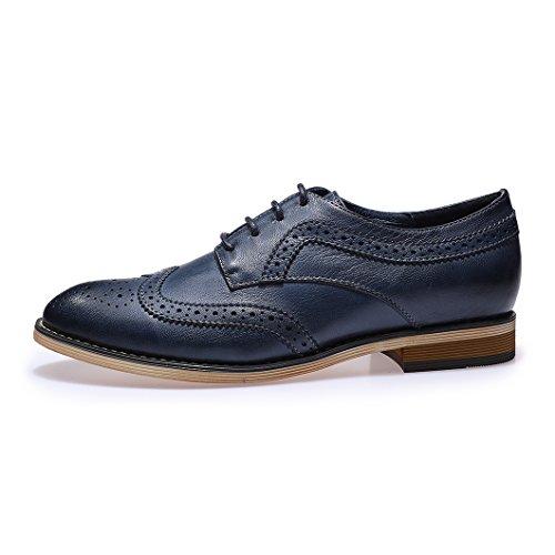 Mona Vliegende Vrouwen Leder Geperforeerd Lace-up Oxford Schoenen Voor Vrouwen Vleugeltip Multicolor Brougue Schoenen Blauw 2