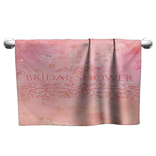 (Towel Bridal Shower,Bride Invitation Grunge Abstract Backdrop Floral Design Print,Pale Pink and Salmon Towels Warmer for spa Size:W35.5 xL12)