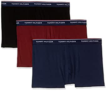 TOMMY HILFIGER Men's Cotton Trunks, Pomege/Peac/Black, Small, Pack of 3