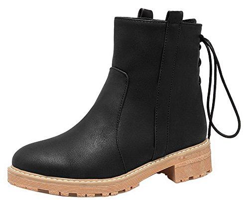 Donna Punta Stivali Tonda Altezza Luccichio Shoes AgeeMi Bassa Allacciare Nero Puro 5qFPgwR