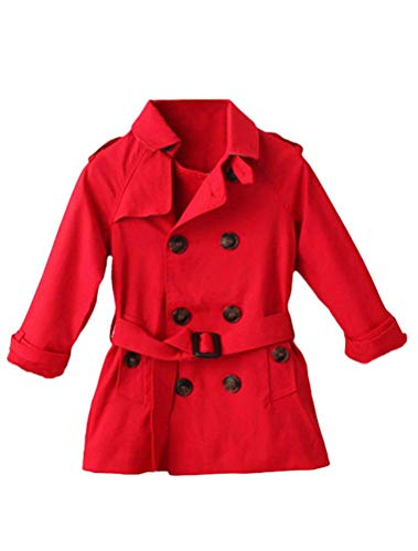 Mallimoda Girls Boys British Cotton Blend Trench Coat Jacket Double Breasted Red 4-5 -