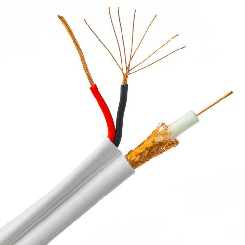 CableWholesale's Plenum Bulk RG59 Siamese Coaxial/Power Cable, White, Solid Core, CMP, 18/2 (18 AWG 2 Conductor) Solid Power, Spool, 1000 foot