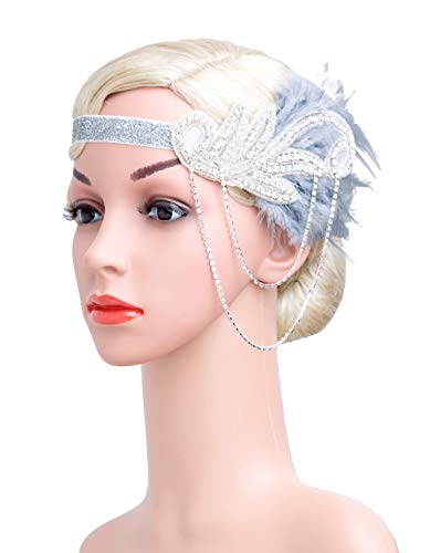 1920s Gatsby Flapper Feather Headband 22s accessories Crystal Beaded Wedding Headpiece(Grey)