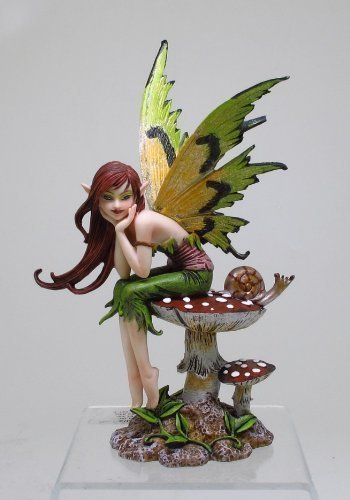 PTC 6.25 Inch Thinking of You Fairy Sitting on Mushroom Statue Figurine