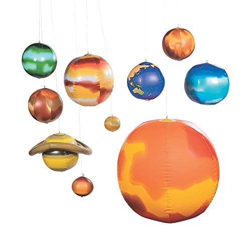 Fun Express 10 Pc Inflatable Solar System/Science/Educational Tool INFLATE/Teacher -