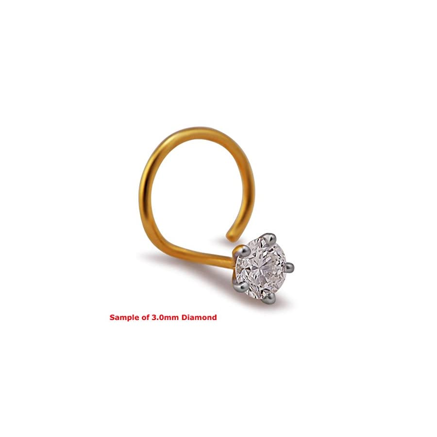 2.0mm Round Cut Diamond and 18K Yellow Gold Nose Ring/ Pin