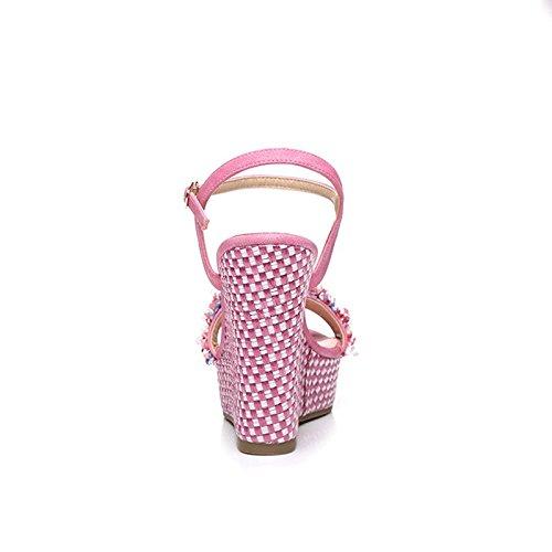 H&Y HY Sommer Steigung mit Frauen Sandalen Hochhackigen Wasserdichte Plattform Plattform Plattform mit Pearl Mode Trompete Schuhe (Farbe   Rosa Rot Größe   37) 218c58