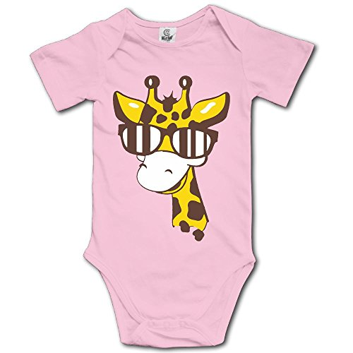 A Giraffe with Sunglasses Funny Newborn Toddler Baby Short Sleeve Jumpsuits Playsuit Outfits