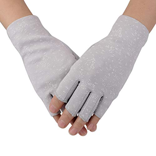 Women's UV Protection Fingerless Sun Driving Gloves Cotton Non Skid Palm (Grey)