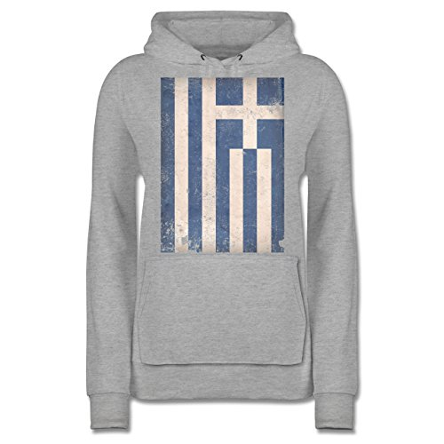 Shirtracer Länder - Griechenland Flagge Vintage - Damen Hoodie Grau Meliert BQWLjUE