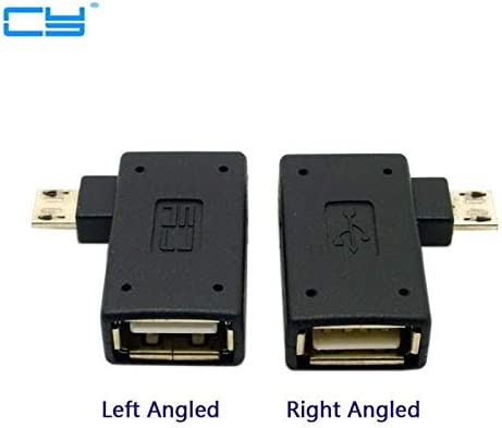Computer Cables 2pcs 90 Degree Left /& Right Angled Micro USB 2.0 OTG Host Adapter Connector Adaptor with USB Power for Tablet Cable Length: Adapter