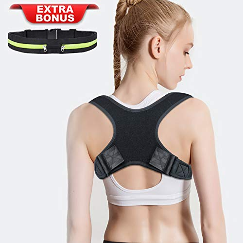Amdieu Posture Corrector for Women & Men Under Clothes Adjustable Shoulder Belt for Slouching & Hunching Upper Back Brace Posture Clavicle Strap Pain Relief (B(Chest 29''-45''))
