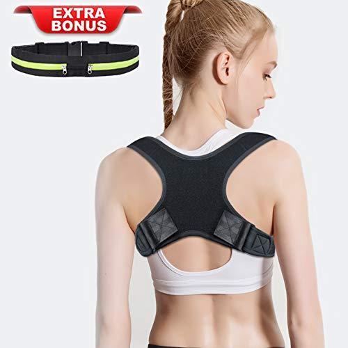 Amdieu Posture Corrector for Women & Men Under Clothes Adjustable Shoulder Belt for Slouching & Hunching Upper Back Brace Posture Clavicle Strap Pain Relief (B(Chest 29''-45''))