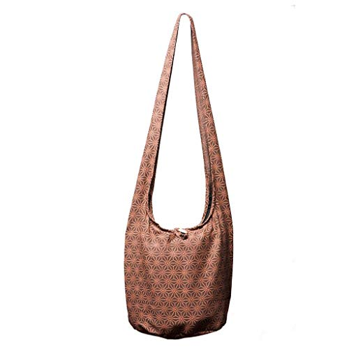 Panaisam Shoulder Bag, in 2?sizes, two Elephant Design & Colours?C?with extra INNER Fabric and Mobile Phone Pocket, 1?A quality Asanoha braun