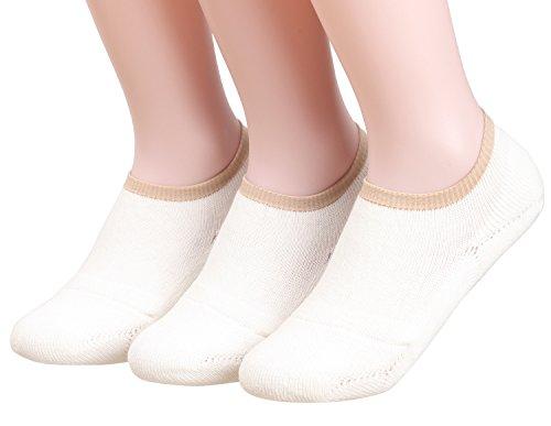 Ivory Womens Socks - Customonaco Women Cushion No Show Socks (Ivory 3 Pairs)