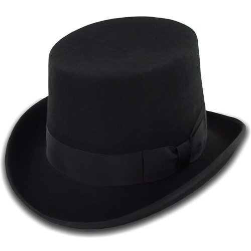 Belfry Topper 100% Wool Satin Lined Men's Top Hat in Black Available in 4 Sizes X-Large (Wool Top Hat)