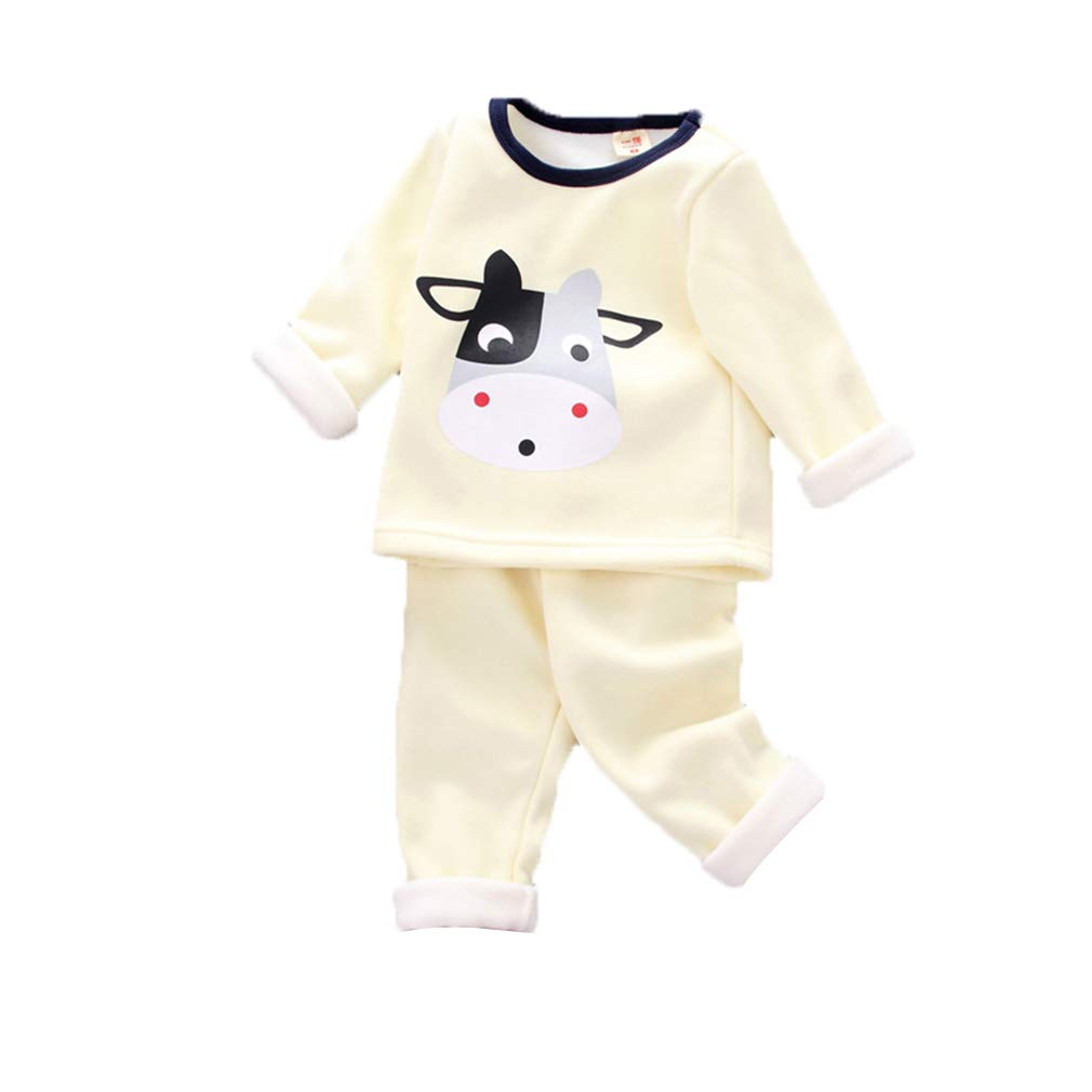 Juleya Neonato Neonati maschi Pigiama Set, 2 pezzi Cotone pile manica lunga Inverno Caldo pigiami da notte per bambini Toddler Kids R180912NY01-J