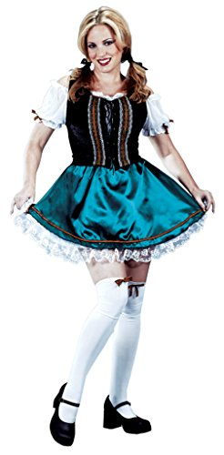 Funworld Womens Sexy Gretel German Corset Outfit Fancy Dress Costume, S/M (2-8) (Adult Gretel Costume)