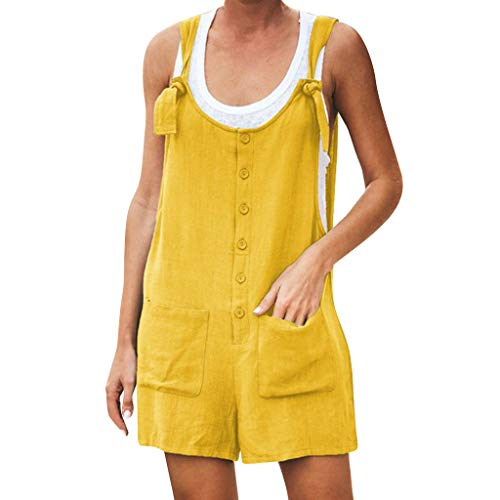 vermers Womens Casual Button Pockets Short Overalls Jumpsuits Summer Linen Vintage Spaghetti Strap Rompers(L, Short Jumpsuit - Yellow)