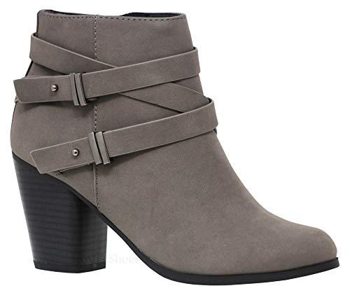 MVE Shoes Women's Crisscross Buckle Bootie Side Zip High Stacked Block Heel Ankle Booties, Undine Gry 7