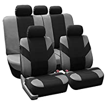 FH Group FB072GRAY115 Full Set Seat Cover (Road Master Airbag and Split Bench Compatible Gray)