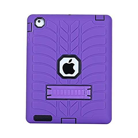 iPad 4 Case,iPad 3 Case,iPad 2 Case, Jessica Tire Series Heavy Duty Shockproof [Drop Protection] 3in1 Hybrid Silicone Skin with PC Plastic with Kickstand for iPad 2/3/4 (Ipad Fourth Generation Case Speck)