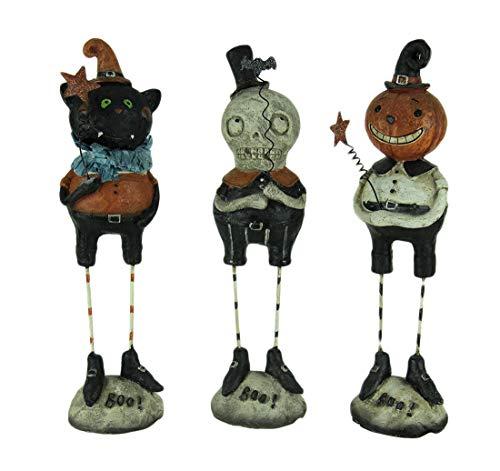 Transpac Resin Halloween Decor Set of 3 Pumpkin Peeps Vintage Look Halloween Figurines 2.5 X 9 X 2.25 Inches -