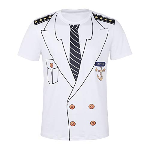 ranrann Men's Captain Costume T-Shirts Role Play Cosplay Short Sleeve Crew Neck Stretch T-Shirt Tops White -